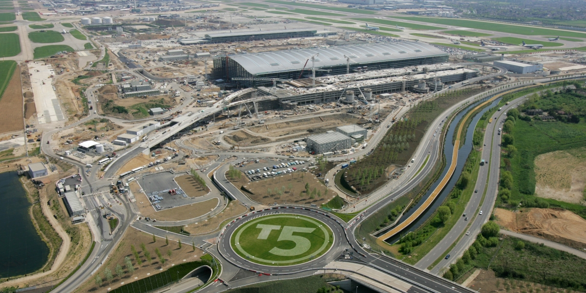Aerial view, Heathrow T5, ramps rear of car park